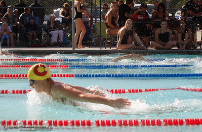 Chico High's Liam Davis swims the 200 butterfly during the 200 freestyle to get a time for the fly during a swim meet against Paradise High September 21, 2016 at Bidwell Junior High School in Chico, Calif. Swimmers can swim any stroke during freestyle as long as they touch the walls and don't pull on the lane line. (Emily Bertolino -- Enterprise-Record)