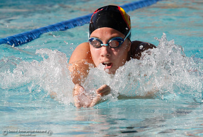 Chico High's Mackenzie Hutler continues to widen the gap as she swims breastroke during the 200 I.M. finishing first with a 2:12:34 during a swim meet against Paradise High September 21, 2016 at Bidwell Junior High School in Chico, Calif. (Emily Bertolino -- Enterprise-Record)