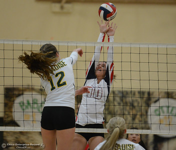 Las Plumas's Kami Barrett goes up to block Paradise High's Carly Otten spike in the Northern Section Division III first-round playoff match Wednesday November 1, 2017 in Paradise, California. (Emily Bertolino -- Enterprise-Record)