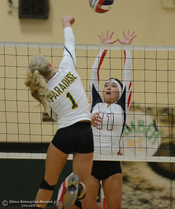 Las Plumas's Megan Mah tries to block Paradise High's Abby Baber's shot in the Northern Section Division III first-round playoff match Wednesday November 1, 2017 in Paradise, California. (Emily Bertolino -- Enterprise-Record)