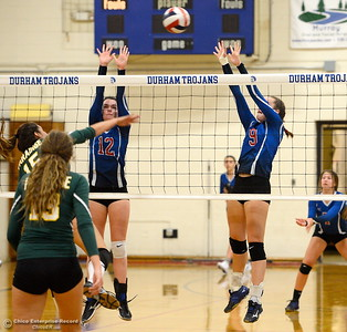 during Durham vs Paradise Volleyball action at Durham Thursday Sept. 13, 2018. (Bill Husa -- Enterprise-Record)