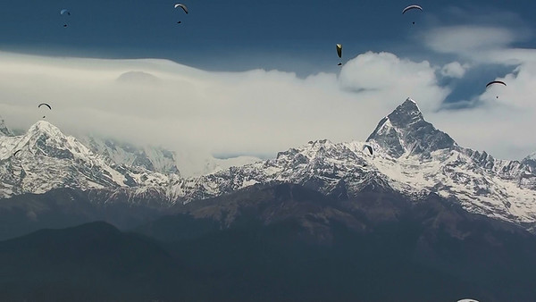 View while paragliding above Sarangkot mountain , Pokhara, Nepal.