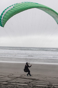 Josh kites on the beach to warm up