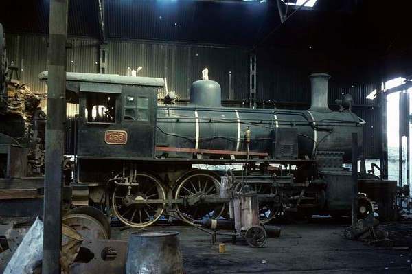 [Argentine] Ferrocaril Nacional General Urquiza No 228, Asuncion, Paraguay, 19 October 1976 1.  Wood-burning standard gauge 4-6-0 built by North British (19214 / 1910) for the Argentine Entre Rios Railway, which was later absorbed into the Urquiza system.  No 228 was subsequently acquired by the FPCAL to relieve a loco shortage.  Its only new locos since conversion from broad to standard gauge in 1911 had been two 2-6-0s built in 1953 by the Yorkshire Engine Company.  All FPCAL locos were wood-burners.  Photo by Les Tindall.