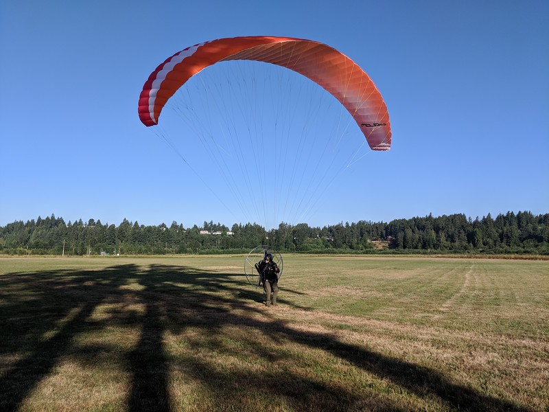 Paramotor reverse launch in higher wind