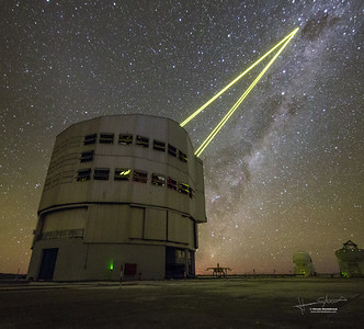 Four Lasers Over Paranal First light for the Four Laser Guide Star Facility on ESO's Very Large Telescope