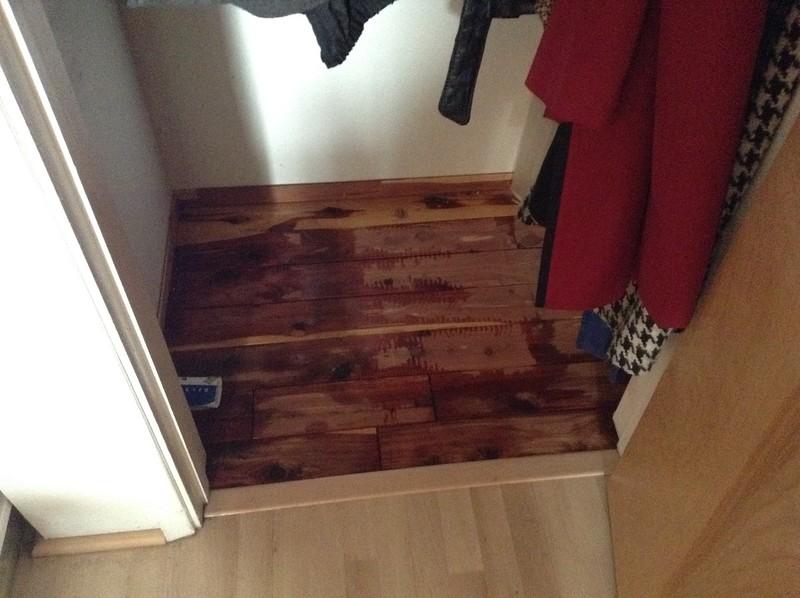 coat closet, cedar flooring