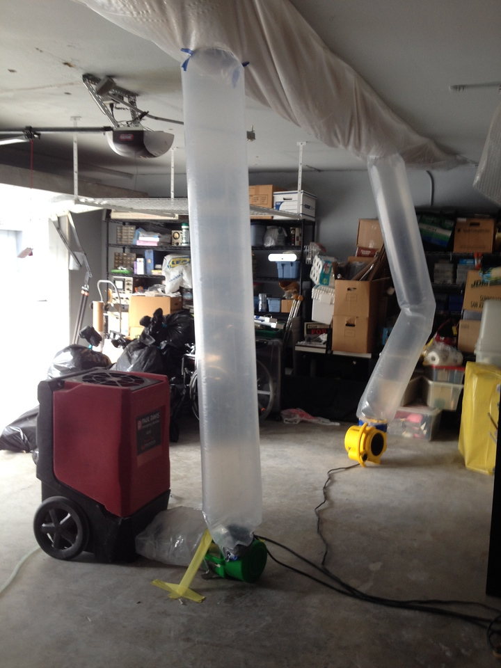 dry-out first stage: garage ceiling