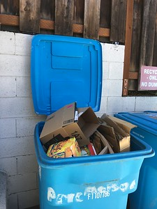 10/6/2018 cardboard IS recyclable, but it fits so much better when boxes are flattened so the cart's lids can close. Have some consideration for your neighbors.