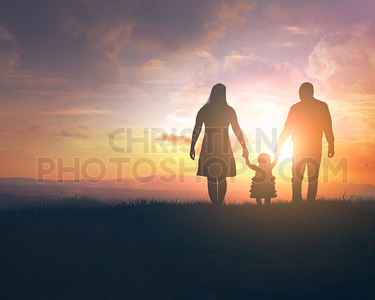 Sunset family walk
