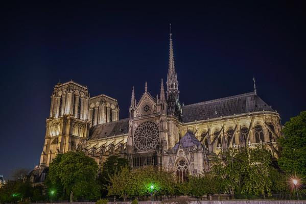 Night lights at Notre Dame