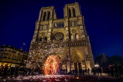 Fireworks at Notre Dame