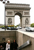 Cathy and Yvonne walking into the pedestrian underpass to get to the Arc de Triomphe