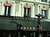 """This is an awning with the word """"Indiana"""" written on it, in Paris.  We had to take a photo!"""