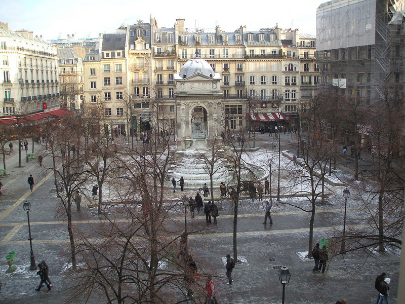 view from my window...les innocents fountain. right near les halles/chatelet metro stop