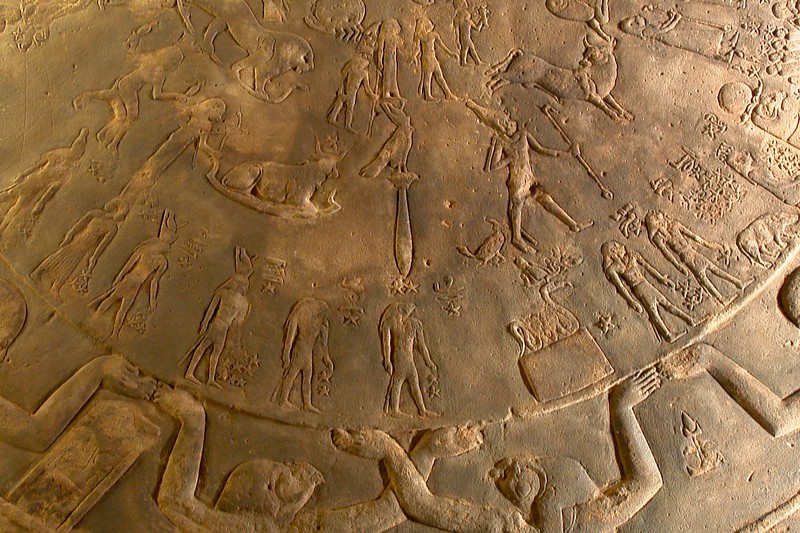 "Dendera Zodiac: detail showing the bird-on-a-stick figure. This symbol repeats its original in the cave painting of Lascaux in the room ""Shaft of the dead man"""