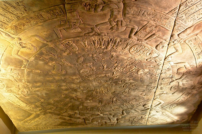 The original Dendera zodiac. With permission by the Egyptian King it was cut into 2 or 3 pieces and transported to Paris in 1822.
