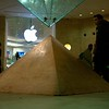 Scale model of the Great Pyramid in the  Carrousel du Louvre with large inverted glass pyramid on top.