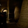 Entering the Egyptian exhibition through the excavated medieval foundation of the Louvre Palace.