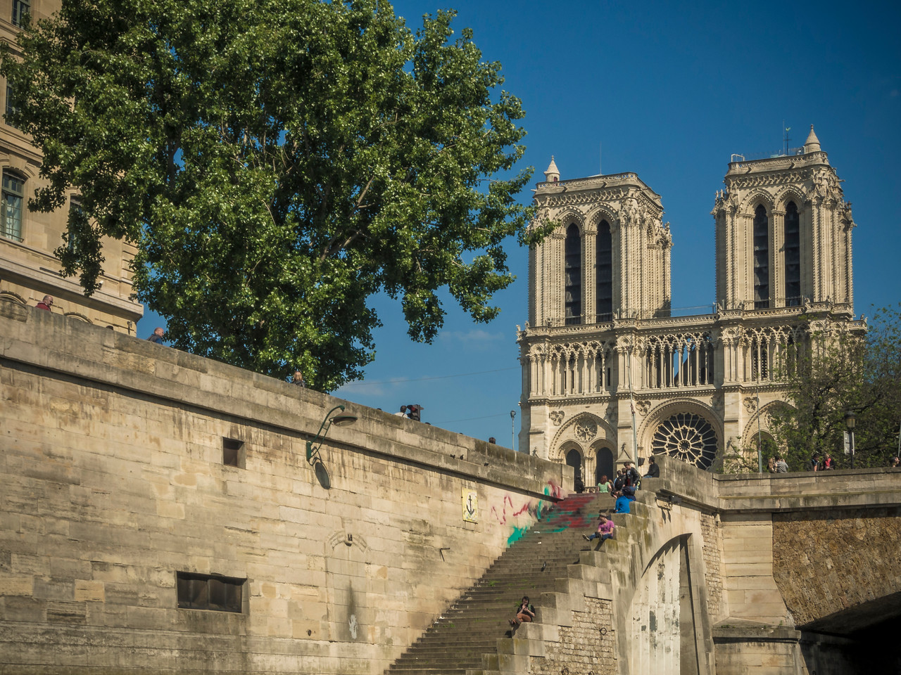 Steps leading to Notre Dame from River Seine Paris
