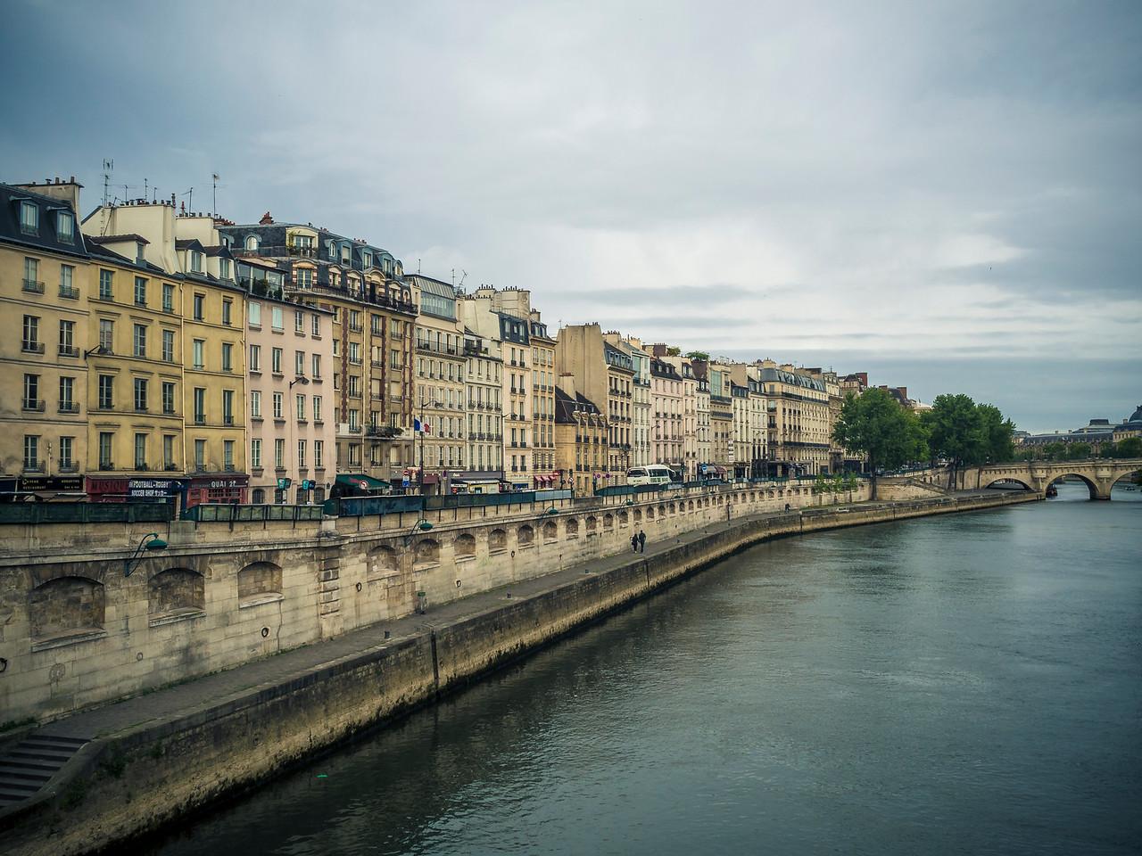 Buildings along the Seine towards Pont Neuf Paris