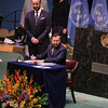 Minister of State (independent charge for Environment Forest and Climate Change) Prakash  Javadekar sign the historic Paris Agreement on climate change at a ceremony at the United Nations General Assembly in New York  22ns April 2016....pic Mohammed Jaffer-SnapsIndia
