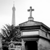Passy Cemetery with Eiffel Tower in Background