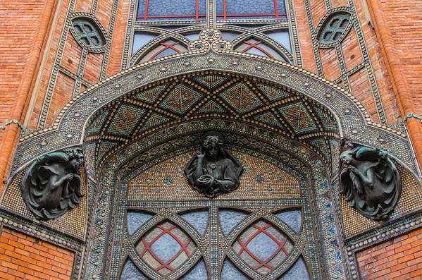 The mosaic door of the Saint-Jean de Montmartre cathedral, Paris