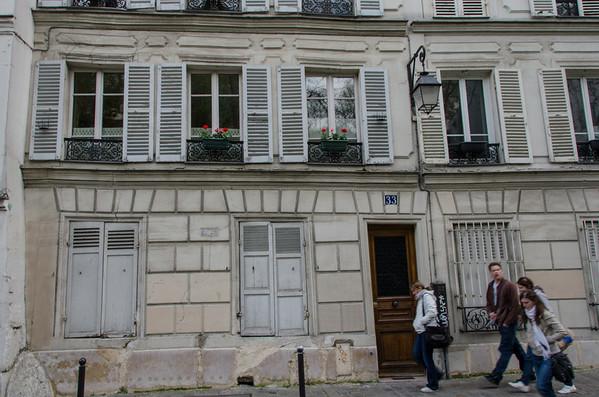 A street scene in Montmartre, Paris