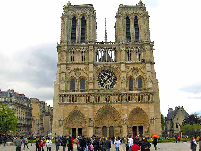 Front of Notre Dame Cathedral in Paris