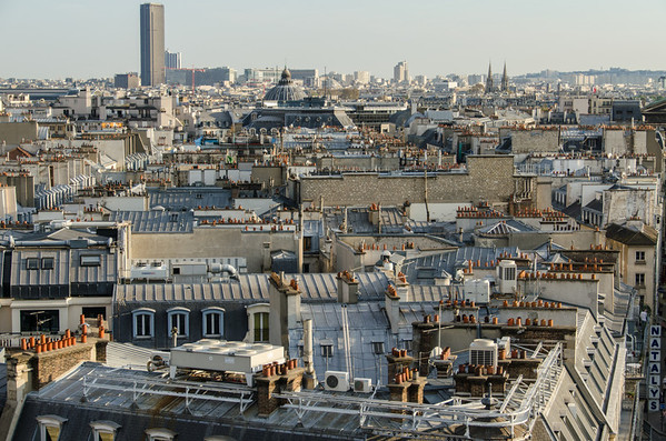 View from the rooftop deck at Printemps department store in Paris