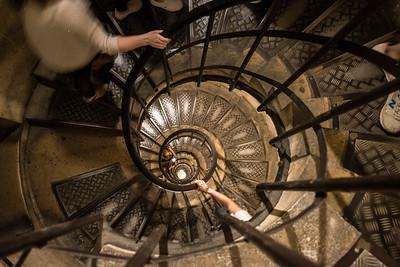 Going up inside the Arc de Triomphe