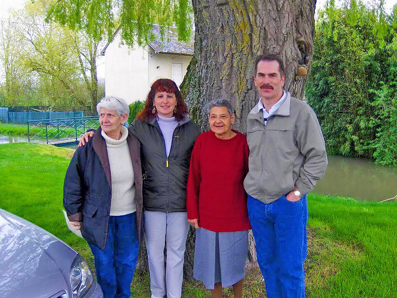 Charlie and sister, Teresa, and French relatives in the town of Saint Genou, France