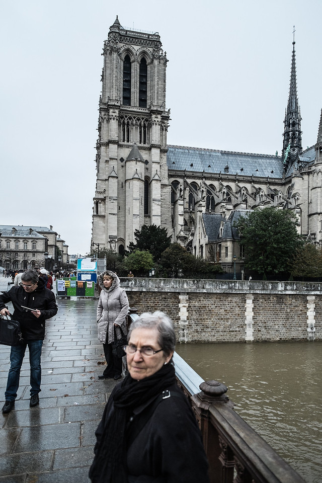 Notre Dame is on an island in the Seine where the city of Paris was founded.  Construction began in 1163 and was completed between 1250 and 1345.
