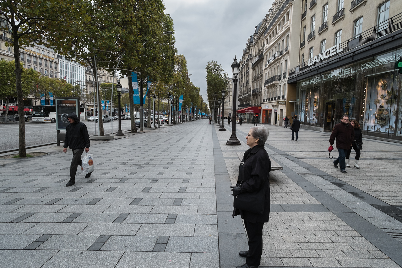 The Champs Elysees is perhaps the most famous shopping street in the world.  But today it seems to be mostly tourist and the curious that make up the crowd.