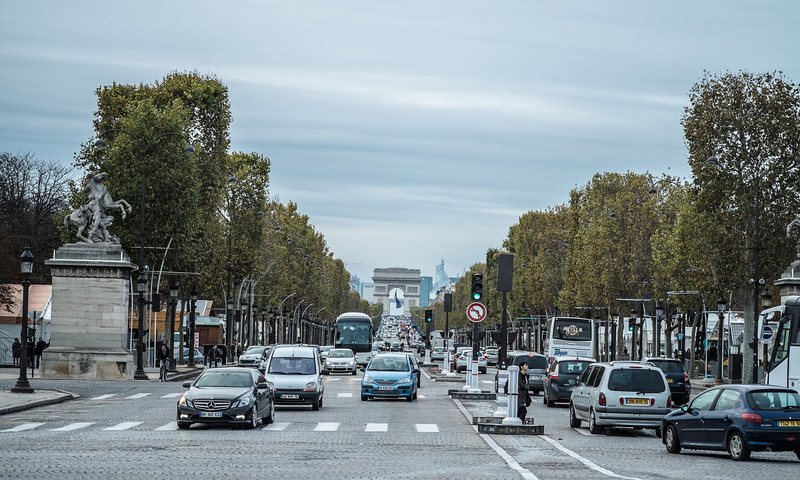 The Champs Elysees from the square to the Arc de Triomphe in the distance.
