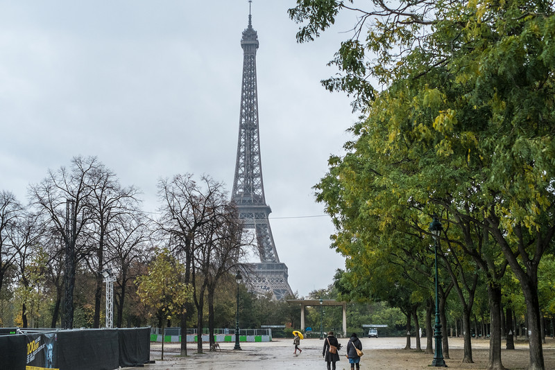 Eiffel Tower on a cold, and rainy day.