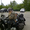 Tex McDonald and his wife on his Knuckle head HD met up in Espanola for the ride to the ferry.