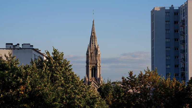 Notre Dame de la Croix<br /> from le Belvédère de Belleville<br /> Parc de Belleville<br /> 20th arr.<br /> September 2018