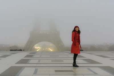 Model shoot at the eiffel Tower
