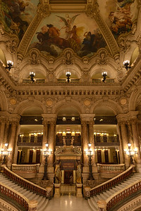 Paris Opera Garnier grand staircase and ceiling