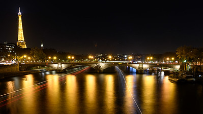 """Pont D""""Alama and Eiffel Tower at Night - Long Exposure"""