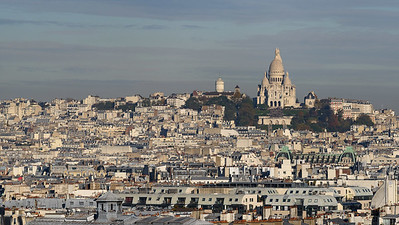 View of Sacre-Couer Basilica and Montmartre from Notre Dame