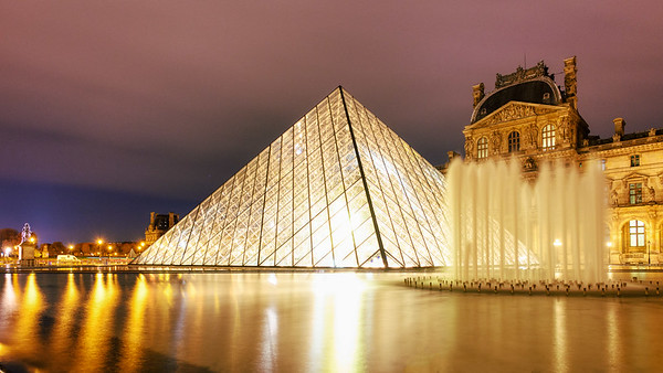 Louvre Museum Pyramid  at NIght