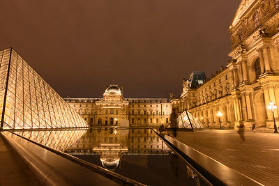 Musee du Louvre Paris - Reflecting Ponds at Night