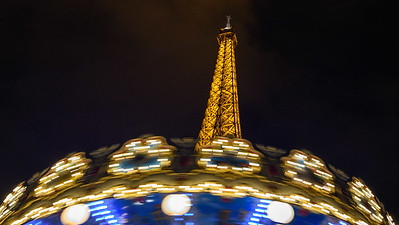 Eiffel Tower Carrousel at Night
