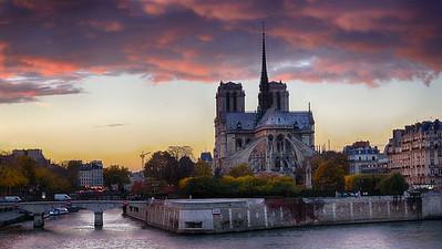 Pink Sky over Notre Dame Paris