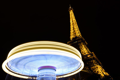 Eiffel Tower Carousel Nighttime Long Exposure