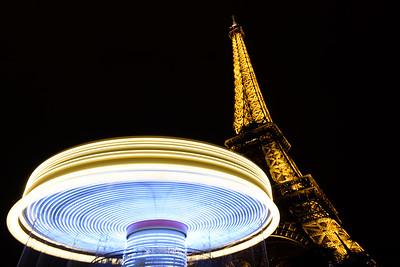 Eiffel Tower Carousel Nighttime Long Exposure