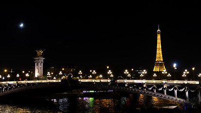 Pont Alexandre III and Eiffel Tower at Night